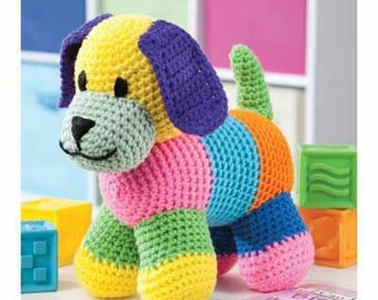 Patchwork crochet puppy dog
