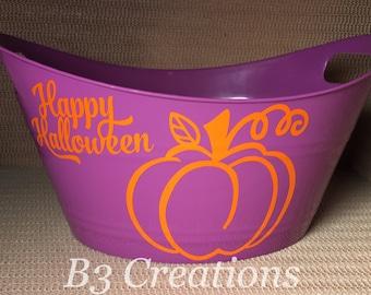 Halloween Candy Bucket, Plastic Oval Tub, Happy Halloween Tub, Pumpkin Tub