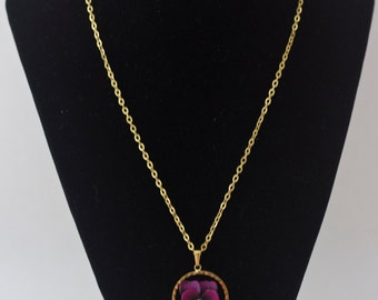 18 Inch Vintage Necklace with Purple Flower, Gold Tone Chain Necklace, Flower Necklace, Flower Jewelry, Delicate Necklace, Delicate Jewelry