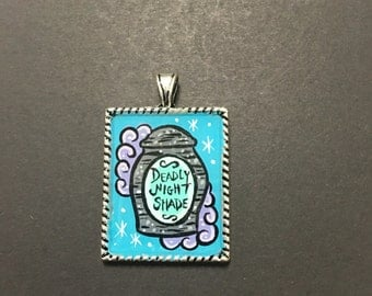 Hand painted deadly nightshade pendant