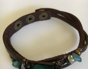 Leather Bracelet, Gemstone Bracelet, Dyed Turquoise, Gemstone Leather Wrap Bracelet, Gift, Women Gift