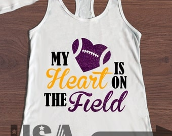 Football - My Heart Is On The Field  with Helmet and Number on Back - Customizable Tank Top