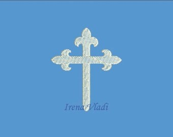 Christian Cross - Machine Embroidery design 4x4hoop - 3 sizes, Fleur de Lis Cross Embroidery, Cross Emroidery design, Religious Embroidery