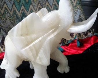 Hand Carved White Onyx Elephant Figurine
