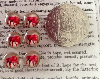 6 Pink Elephant Cabochons