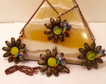Chakra Dragonfly Flower Necklace