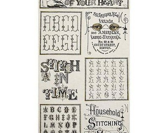 """Alphabet Fabric: Letter Stitch Sampler Cream by Quilting Treasures 100% cotton Fabric by the PANEL 23""""x 44"""" (P38)"""