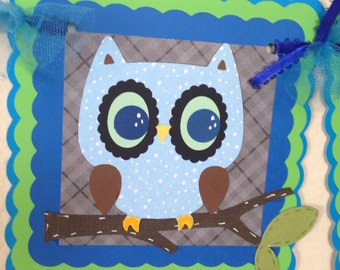 Owl baby shower banner, It's a boy banner, Woodland animals, Baby shower banner, monkey table banner, Safari animals, High Chair Banner.