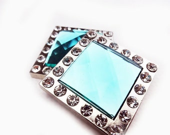 Western Horse Turquoise Square Bling Silver Show 2 Concho Lot Bridle Repair