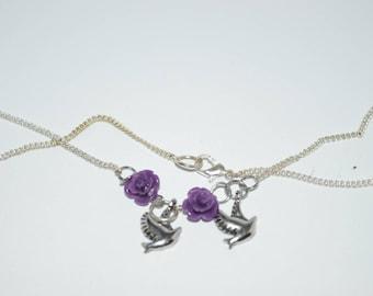 Purple Rose Dove Charm Necklace