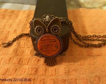 Bronze Owl Pendant ( Sunset Orange  Pendant)