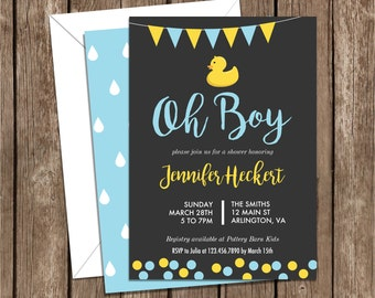 Rubber Ducky Baby Shower Invite, Light Blue and Yellow, chalkboard, rubber duck, baby, boy, girl, printable, DIY, baby shower, invite, 011