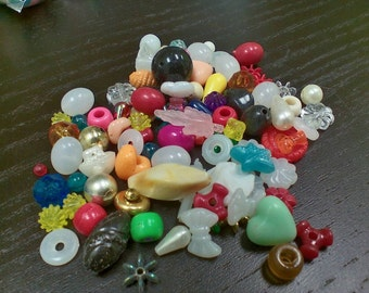 Mixed lot of beads, all shapes and sizes. Every bag is different! (4 oz)