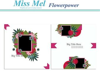 Digital scrapbook template : flowerpower