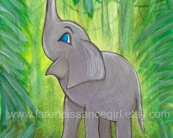 Jungle Elephant {Gouache Print 5X7}