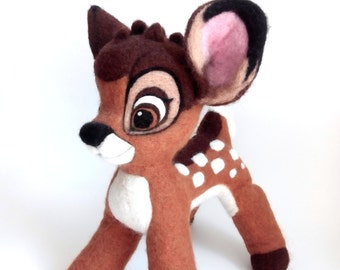 Needle felted deer inspired Bambi, Needle felting, Needle felted animal, Home decor, Felt, Needle felt, Felting wool, Gift idea, Wool toy