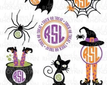 Halloween Collection SVG Vector Cut File, Spider SVG, Bat SVG, Black Cat svg, Witch svg, Witch Pot svg, Halloween Digital Download