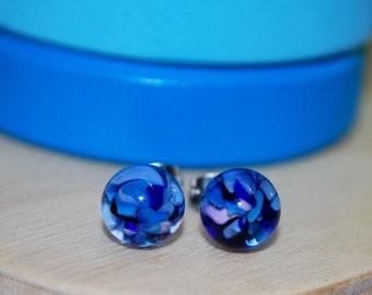 Blue Bonnet Glass Stud Earrings
