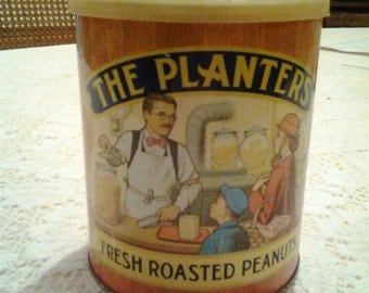 Vintage Tin Planters Peanuts Advertising can