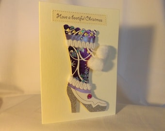 Isabella: Christmas card with purple and silver boot