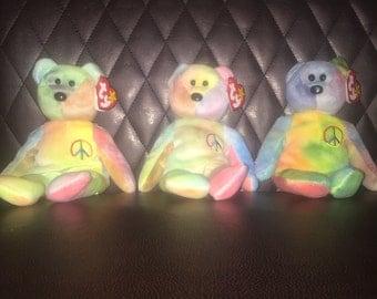 """Rare """"Peace"""" beanie babies"""