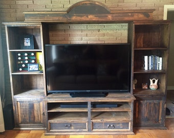 Rustic Entertainment Center w/ Built in Shelving