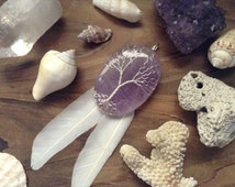 Tree Of Life Amethyst Wire Wrapped Sterling Silver Pendant with White Pigeon Feathers