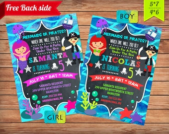 Mermaid invitation printable. Pirates Birthday Party. Mermaid  Pirate Birthday Invitation. Party Mermaid & Pirate Invitation Printable.