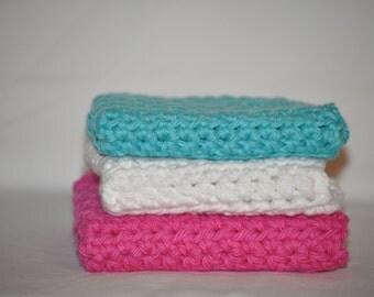 Crochet Dishcloths, Set of 3 Dishcloths, Cotton Dishcloths, Dishcloths, Washcloths, Crochet Washcloths, Cotton Washcloths