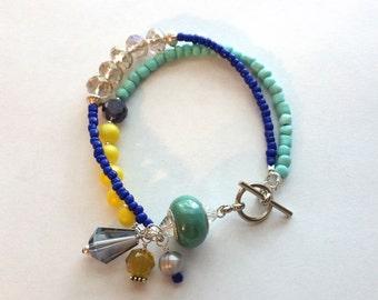 Beaded Bracelet - Handmade blue and yellow beaded bracelet - Handmade Jewelry - Beaded Jewelry - Jewelry Gift - JLGrace Designs