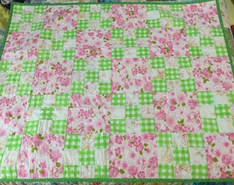 Vintage sheet quilt, baby girl quilt, pink and green quilt, throw quilt, lap quilt