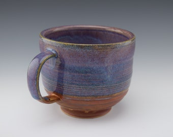 Purple Ceramic Handmade Mug with handle, Wheelthrown