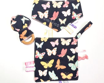 Baby Set! Butterfly Pattern of Taggy Blanket, Bib and Organic Wooden Teething Ring Bunny Ears.