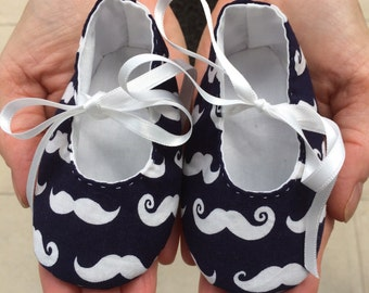 Moustaches Handmade Pre-Walker Baby Shoes - Baby Boy, 0-6 Months