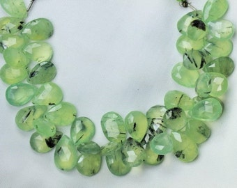 8 inch long strand faceted pear shape PREHNITE briolettes beads 10 x 15 -- 10 x 17 mm