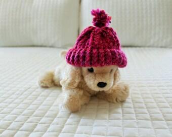 Bright Pink Miniature Stuffed Animal Hat