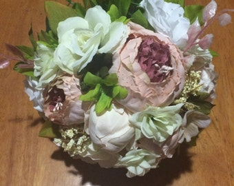 Pink Peony with White Roses & Other flowers