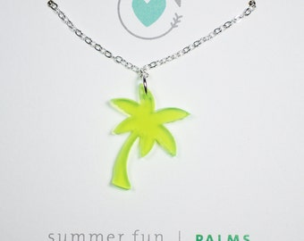 Green Palm Tree Summer Fun Acrylic Charm Necklace Silver