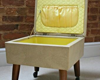 Vintage Mid Century Sherborne Sewing Box/Footstool