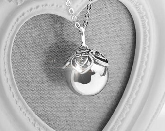 Harmony Ball LORI Silver Bola Ball Pendant & Necklace - Pregnancy Baby Shower Gift Mom to Be Maternity