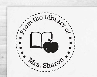 Bookplate Stamp - Calligraphy & Handwriting Font. Handle or Self-Inking Library Stamp (R8881)