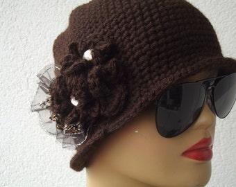 crochet beret accessories brown crochet beret hat beanie gift for her crochet hat