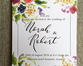 Custom Watercolor Calligraphy  Wedding Invitation + RSVP Bright