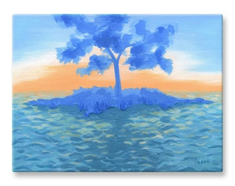 """Peaceful Canvas Print of Blue Painting with Calm Ocean, Marine Landscape, 12x16"""""""