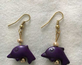 Purple Dolphin Earrings