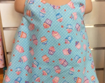 Blue cupcake reversible baby dresses and headband
