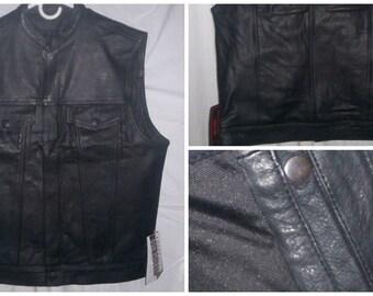 7402 Men's Club Style Leather Vest - Concealment Pocket