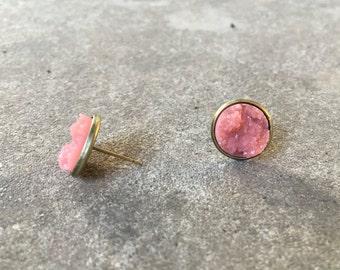 Coral Druzy In Brass Setting Post Earrings