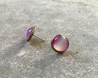 Ombre Pink in Brass Setting Post Earrings