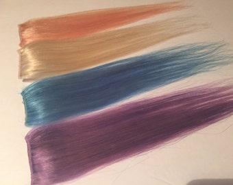"12"" PASTELS Blue Blonde Lavender & Light Pink Human Hair Extensions Set of 4"